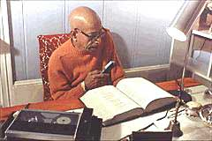"AC Bhaktivedanta Swami Prabhupada is the world's foremost Vedic Scholar. Here he is seen translating Vedic scripture.  during the early '70s. In all, he has published more than sixty volumes and founded a monthly publication, ""Back to Godhead"". His books are translated in over thirty languages and serve as standard textbooks in numerous college courses."